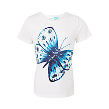 Buy John Lewis Girls' Butterfly T-Shirt, White Online at johnlewis.com
