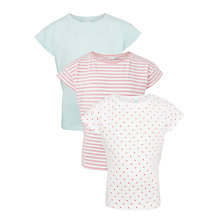 Buy John Lewis Girls' Spot, Stripe and Plain T-Shirt, Pack of 3, Multi Online at johnlewis.com
