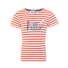 Buy John Lewis Girls' Hello Stripe T-Shirt, Cayenne/White Online at johnlewis.com