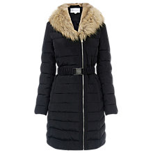Buy Warehouse Asymmetric Padded Coat, Black Online at johnlewis.com