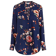 Buy Warehouse Pattern Painted Floral Blouse, Blue Pattern Online at johnlewis.com