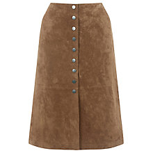 Buy Warehouse Suede Button Midi Skirt, Tan Online at johnlewis.com