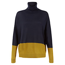 Buy Hobbs Everly Roll Neck Jumper, Navy/Moss Green Online at johnlewis.com