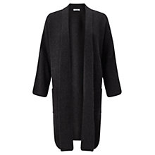 Buy Jigsaw Cashmere Blend Ribbed Cardigan, Graphite Online at johnlewis.com