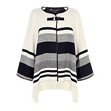 Buy Karen Millen Stripe Cape Coat, Black/Ivory Online at johnlewis.com