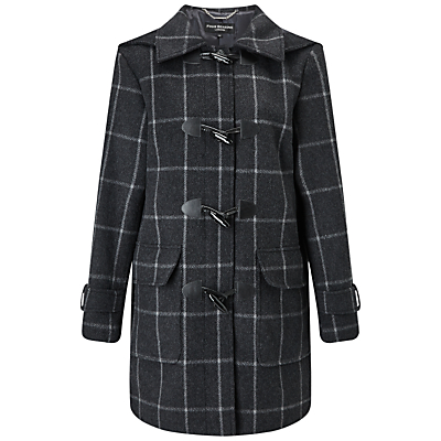 Four Seasons Check Duffle Coat, Charcoal/Black