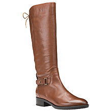 Buy Geox Felicity A Block Heeled Knee High Boots, Brown Leather Online at johnlewis.com