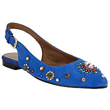 Buy John Lewis Deanna Embellished Sling Back Pumps, Cobalt Online at johnlewis.com