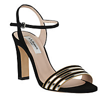 Buy L.K. Bennett Samantha Block Heeled Sandals, Black/Silver Online at johnlewis.com
