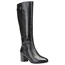 Buy Geox Petalus Block Heeled Knee High Boots, Black Online at johnlewis.com