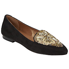 Buy John Lewis Brigitte Embellished Loafers, Black/Gold Online at johnlewis.com
