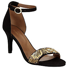 Buy John Lewis Durban Embellished Stiletto Sandals, Black/Gold Online at johnlewis.com