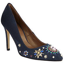 Buy John Lewis Bardot Embellished Stiletto Heel Court Shoes, Navy Suede Online at johnlewis.com