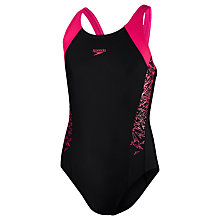 Buy Speedo Girls' Boom Splice Muscleback Swimsuit, Black/Pink Online at johnlewis.com