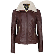 Buy Ted Baker Ciel Removable  Shearling Trim Leather Jacket, Brown Online at johnlewis.com