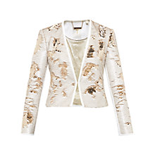 Buy Ted Baker Zalee Metallic Sequin Jacket, Gold Online at johnlewis.com