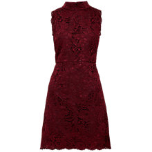 Buy Ted Baker Latoya High Neck Lace Mini Dress, Oxblood Online at johnlewis.com