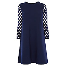 Buy Karen Millen Lattice-Sleeve Dress, Navy Online at johnlewis.com