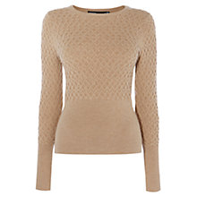 Buy Karen Millen Cable-Knit Jumper, Camel Online at johnlewis.com
