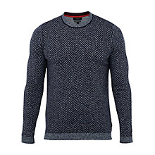 Buy Ted Baker T for Tall Unctt Herringbone Crew Neck Jumper, Navy Online at johnlewis.com