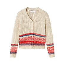 Buy Mango Kids Girls' Chunky Knitted Cardigan, Beige Online at johnlewis.com