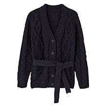 Buy Mango Kids Girls' Cable Knit Cardigan, Navy Online at johnlewis.com