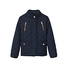 Buy Mango Kids Girls' Zip Pocket Quilted Coat, Navy Online at johnlewis.com