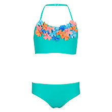 Buy John Lewis Girls' Flower Bikini, Green Online at johnlewis.com
