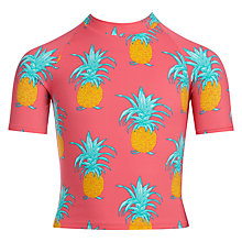 Buy John Lewis Girls' Pineapple Rash Vest, Pink Online at johnlewis.com