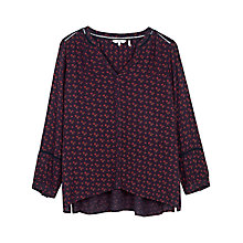 Buy Fat Face Tania Wheatsheaf Popover Blouse, Navy Online at johnlewis.com