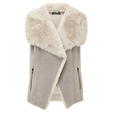 Buy Mint Velvet Faux Fur Mix Gilet, Grey Online at johnlewis.com