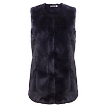 Buy Mint Velvet Faux Fur Collarless Gilet, Blue Online at johnlewis.com