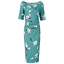 Buy Jolie Moi Floral Print Half Sleeve Dress, Teal Online at johnlewis.com