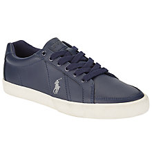 Buy Polo Ralph Lauren Hugh Leather Trainers, Navy Online at johnlewis.com
