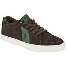 Buy Polo Ralph Lauren Hugh Leather Trainers, Dark Brown Online at johnlewis.com