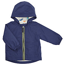 Buy John Lewis Baby Dinosaur Lining Shower Proof Hooded Jacket, Blue Online at johnlewis.com