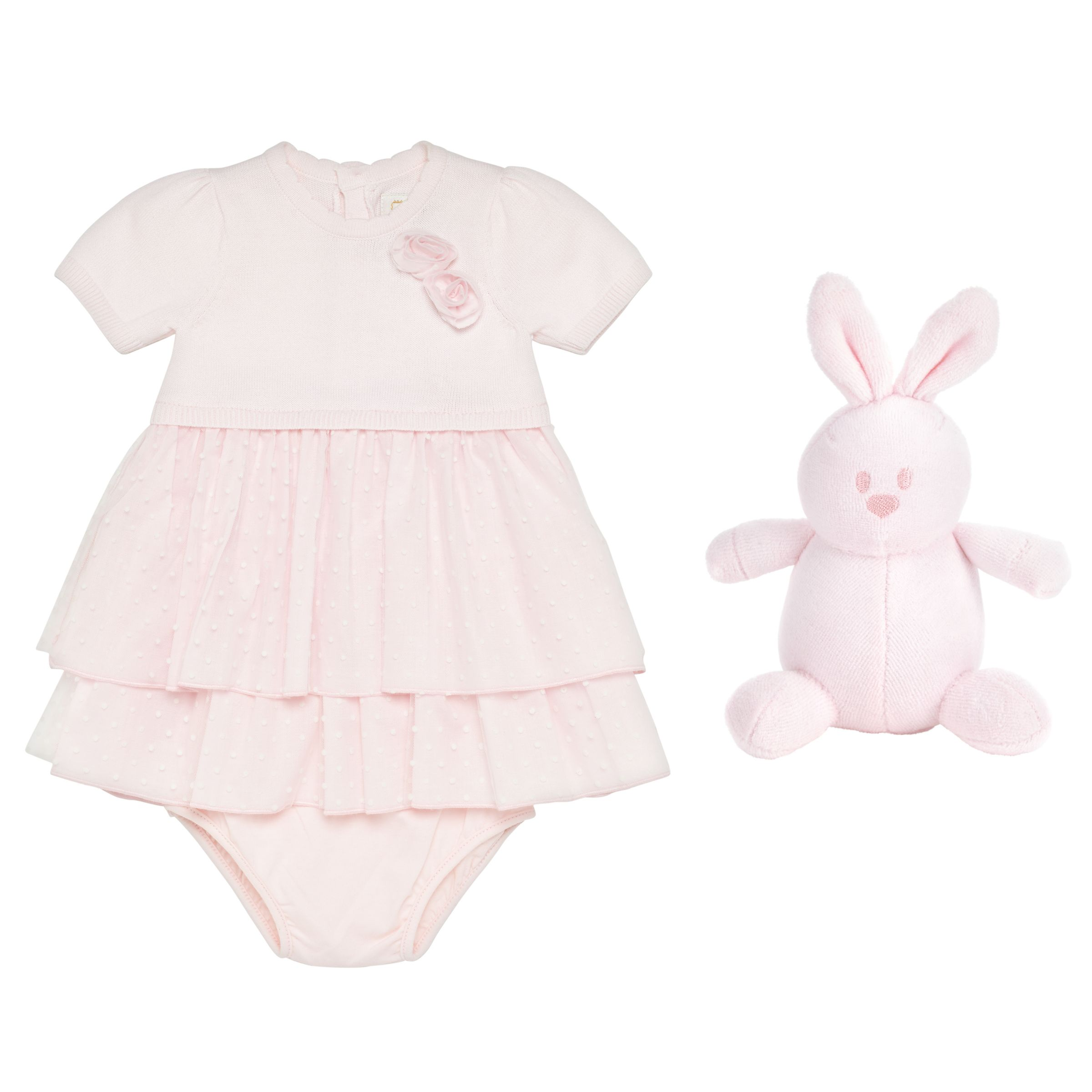 Emile et Rose Emile et Rose Baby Kesia Spotted Tulle Dress with Knickers, Pink