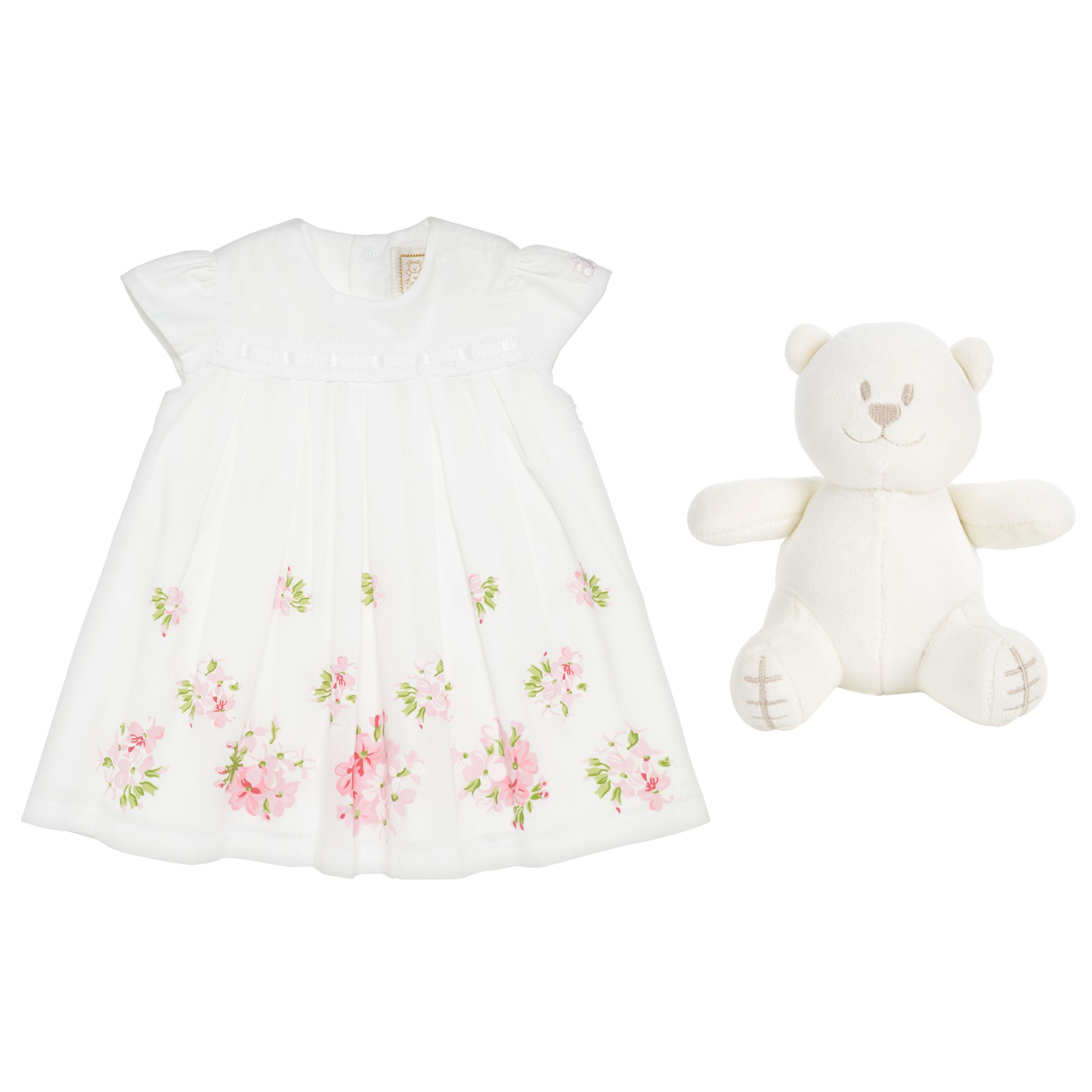 Emile et Rose Emile et Rose Baby Krystal Flower Dress, White/Pink