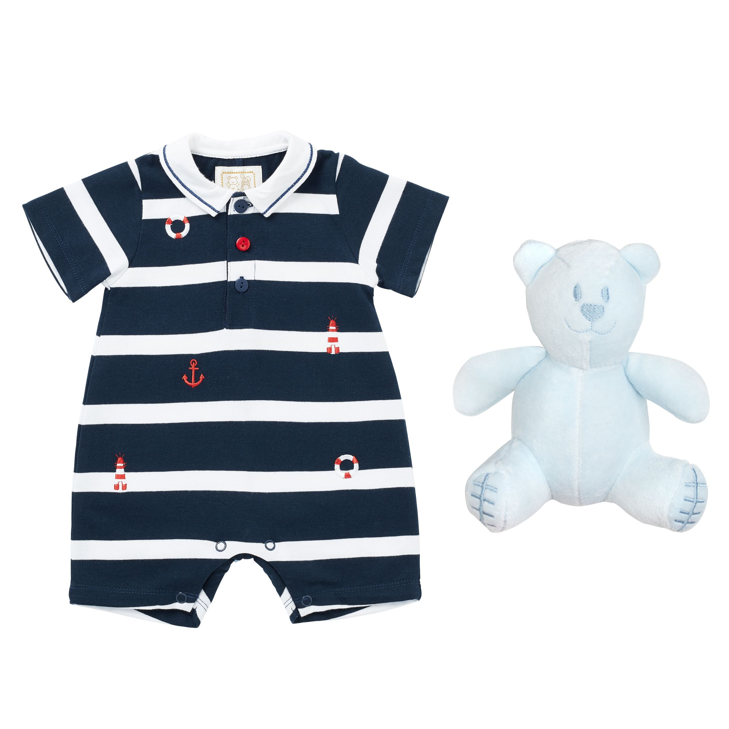 Emile et Rose Emile et Rose Baby Kevin Nautical Romper, Navy/White