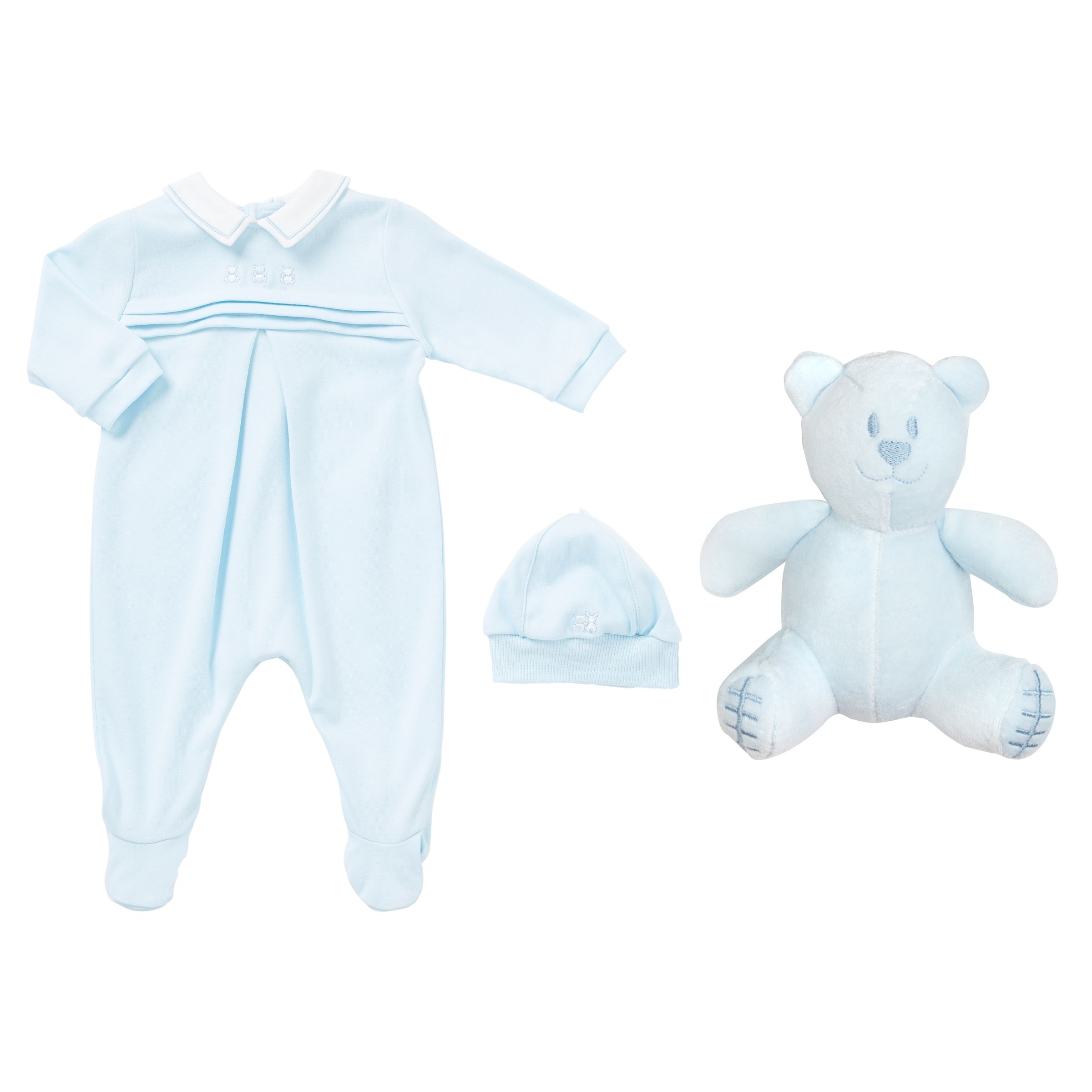 Emile et Rose Emile et Rose Baby Kieran Romper and Hat Set, Blue