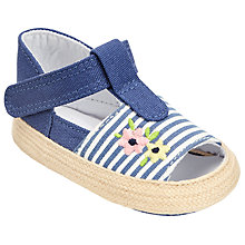 Buy John Lewis Baby Floral and Stripe Open Toe Espadrille Shoes, Blue/White Online at johnlewis.com
