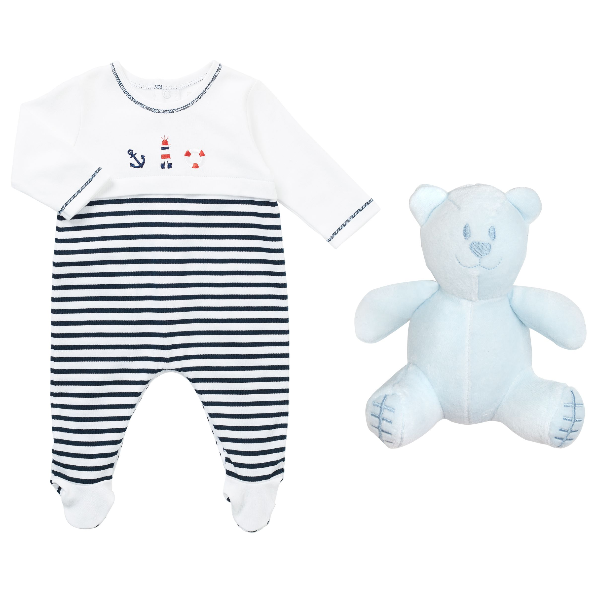 Emile et Rose Emile et Rose Baby Kenzie Nautical Romper, Navy/White
