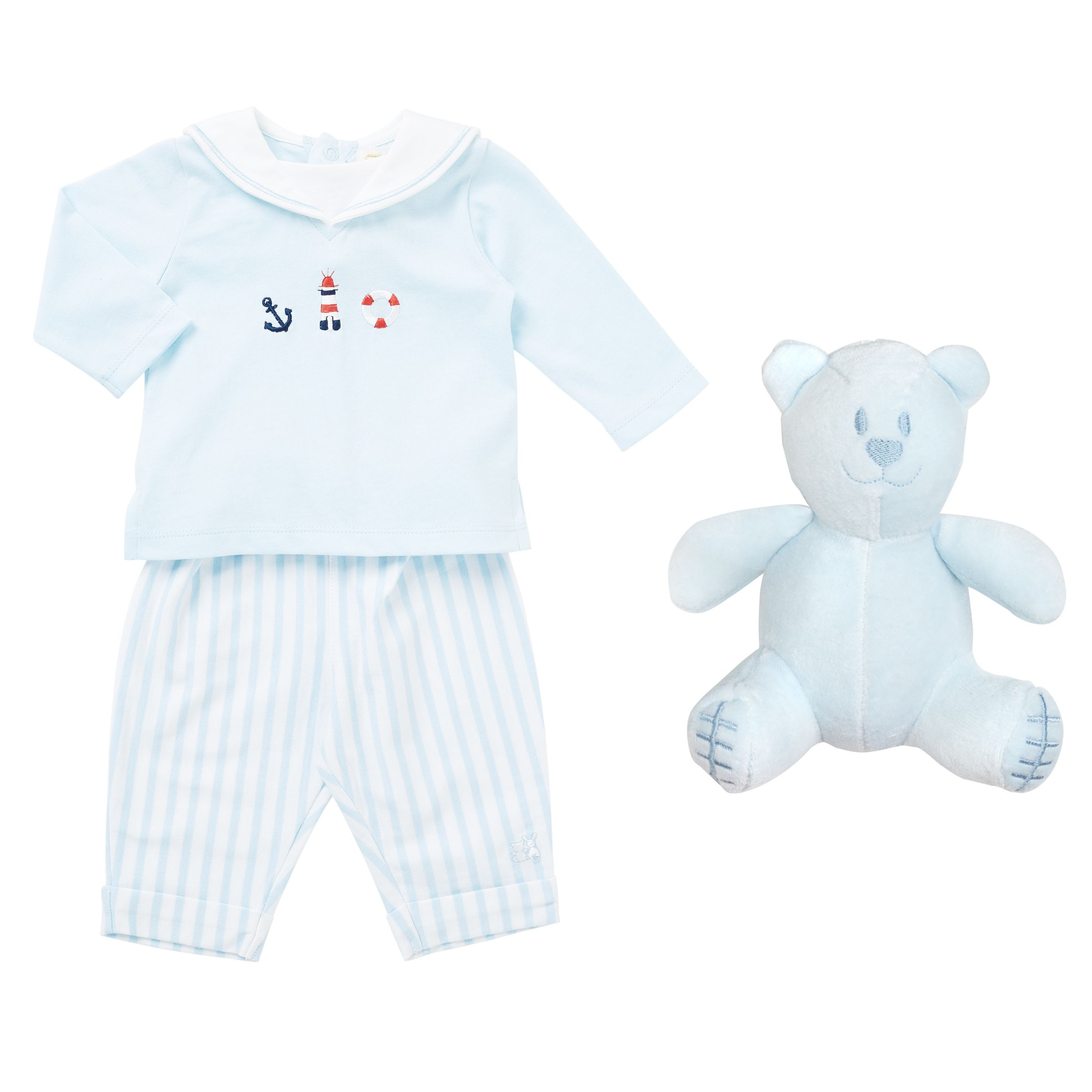 Emile et Rose Emile et Rose Baby Karl Sailor Two Piece Set, Blue/White
