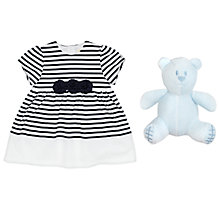 Buy Emile et Rose Baby Kiki Striped Embroidered Dress, Navy/White Online at johnlewis.com