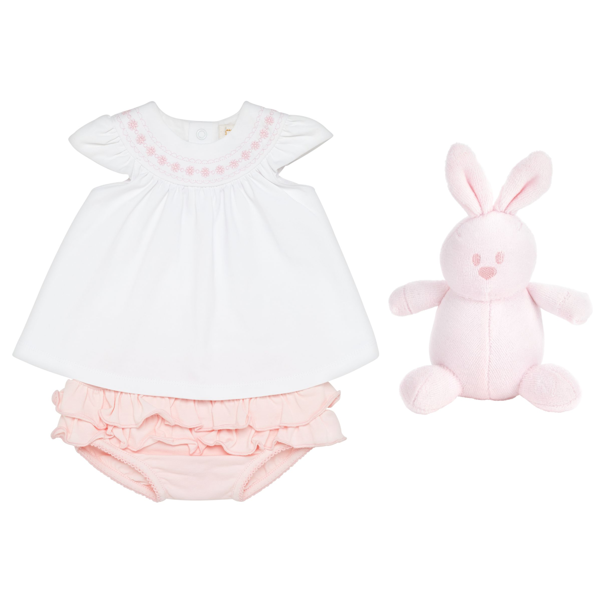 Emile et Rose Emile et Rose Baby Kate Two Piece Top and Short Set, White/Pink