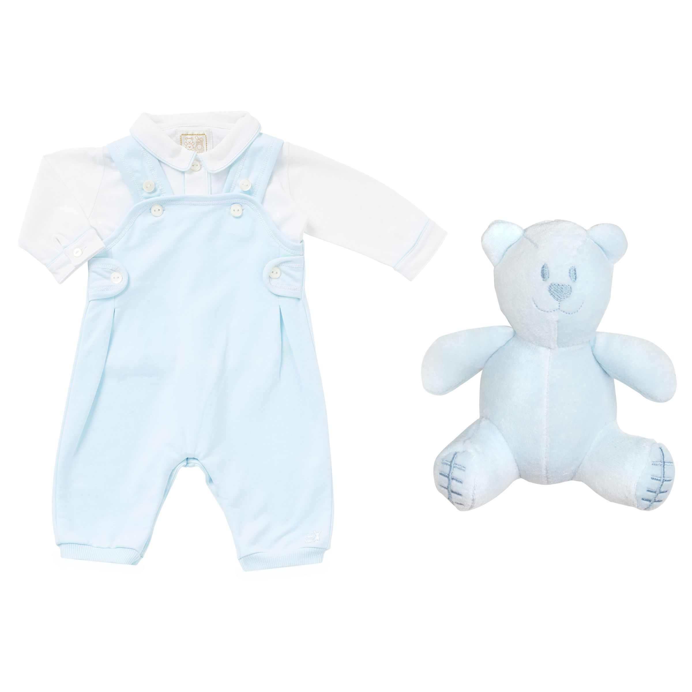 Emile et Rose Emile et Rose Baby Kenny Two Piece Dungarees and Shirt Set, Blue