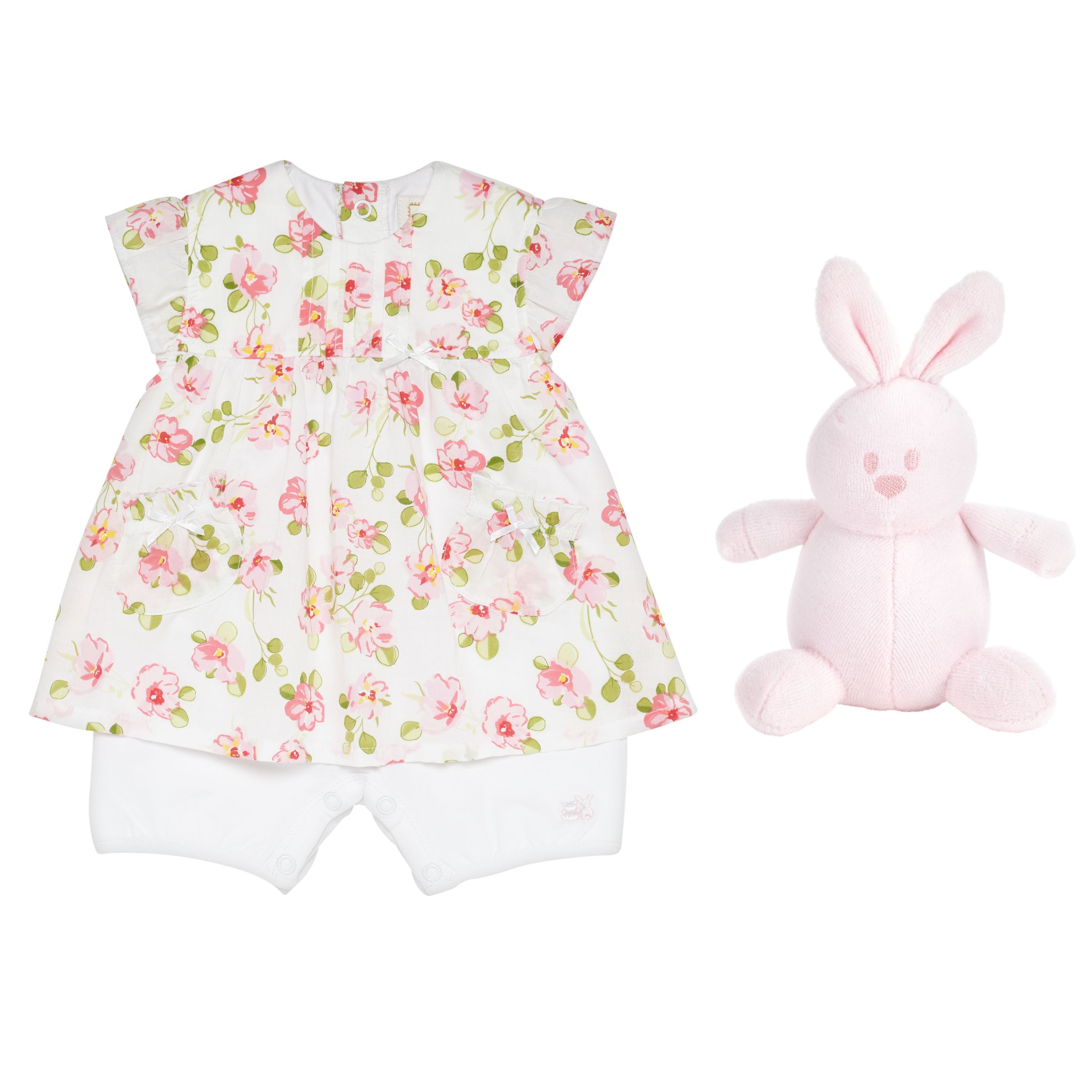 Emile et Rose Emile et Rose Baby Kayla Floral Two Piece Dress Set, Pink
