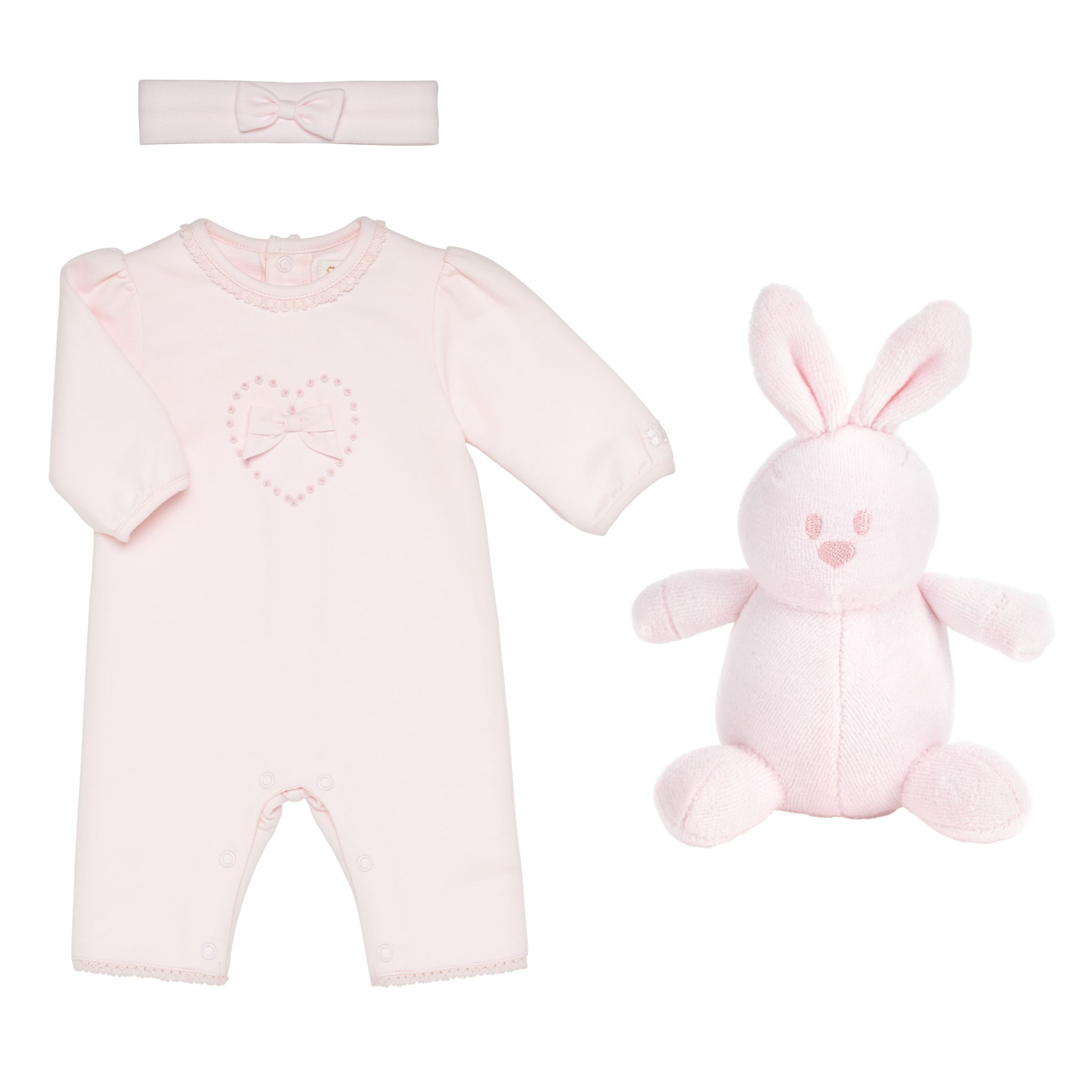 Emile et Rose Emile et Rose Baby Kitty Hand Embroidered Two Piece Set, Pink