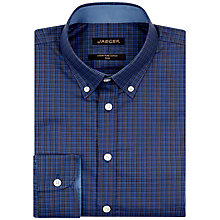 Buy Jaeger Dark Micro Check Shirt, Petrol Online at johnlewis.com