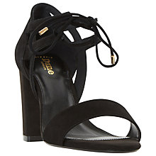 Buy Dune Wide Fit Moroco Block Heeled Sandals, Black Suede Online at johnlewis.com